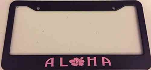 Aloha With Hibiscus Flowers Black With Pink License Plate