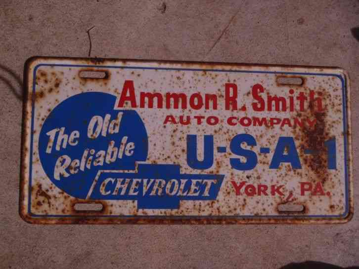 Ammon R. Smith License Plate Chevrolet Dealer York, PA USA