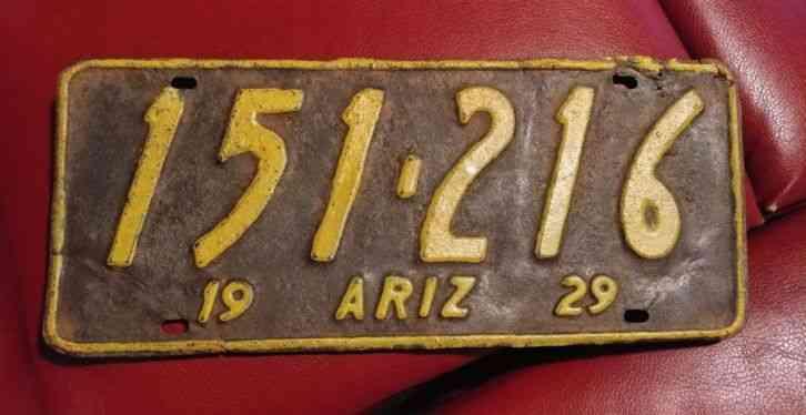Rhode Island License Plate >> Arizona 1929 license plate rare