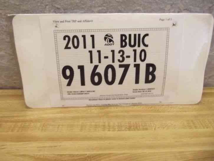 Arizona State License Plate >> ARIZONA 2011 BUICK TEMPORARY LICENSE PLATE W/ DEALER