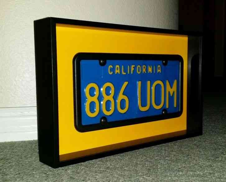 California Blue and yellow license plate in a aluminum black&yellow shadow  box