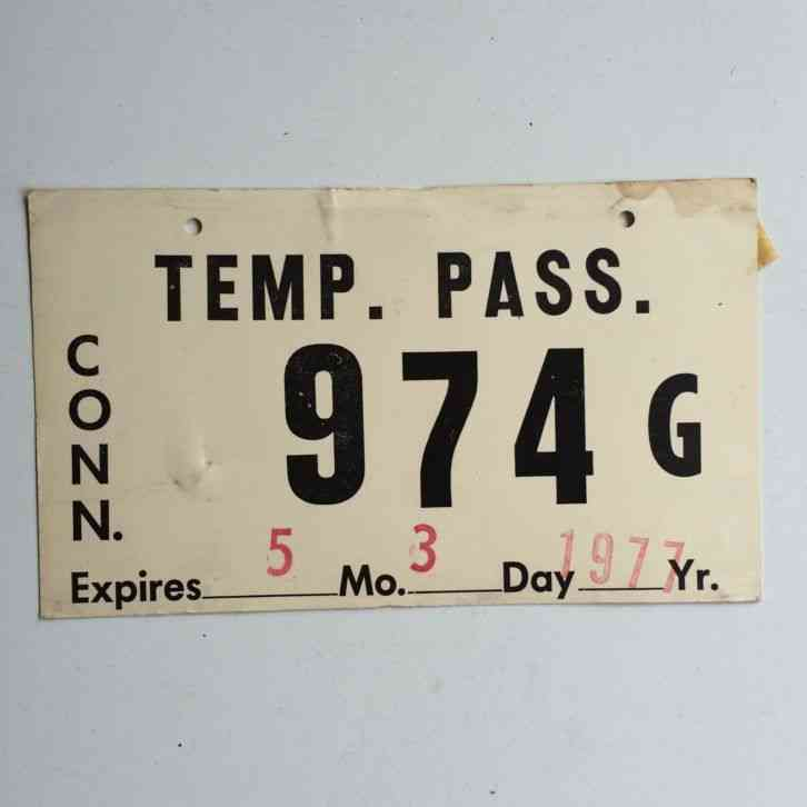 Connecticut 1977 Temporary License Plate Garage Old Auto