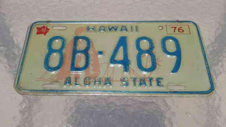 Hawaiian Tag: Hawaii 1976 License Plate 8B-489 Aloha State Car Tag