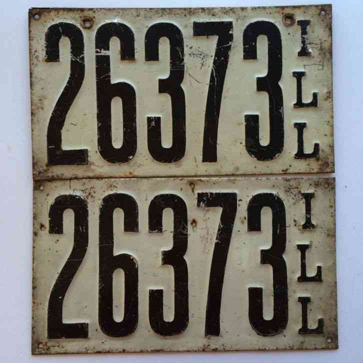 Illinois 1911 Pair License Plate Garage Old Car Tag Set