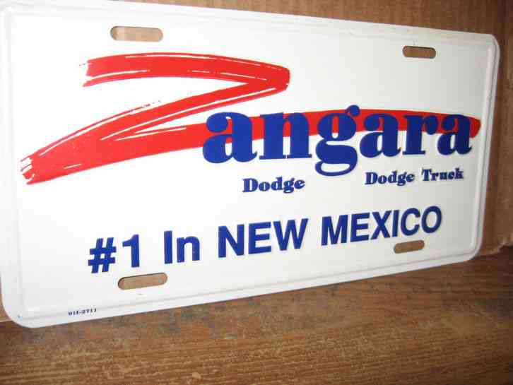 LICENSE PLATE ZANGARA DODGE TRUCK # 1 IN NEW MEXICO METAL