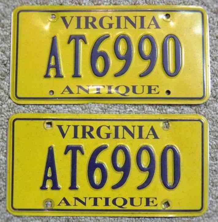 sc 1 st  Saleofcar.com & License Plates: State of Virginia - Antique (Pair) # AT