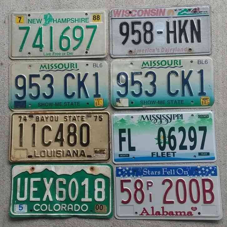 Lot Of 8 Mixed States License Plates