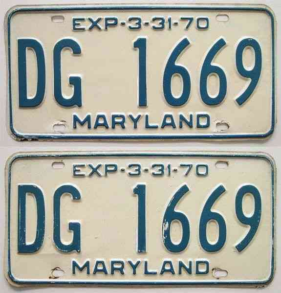 Maryland 1970 License Plate YOM PAIR Ford Chevy Chrysler