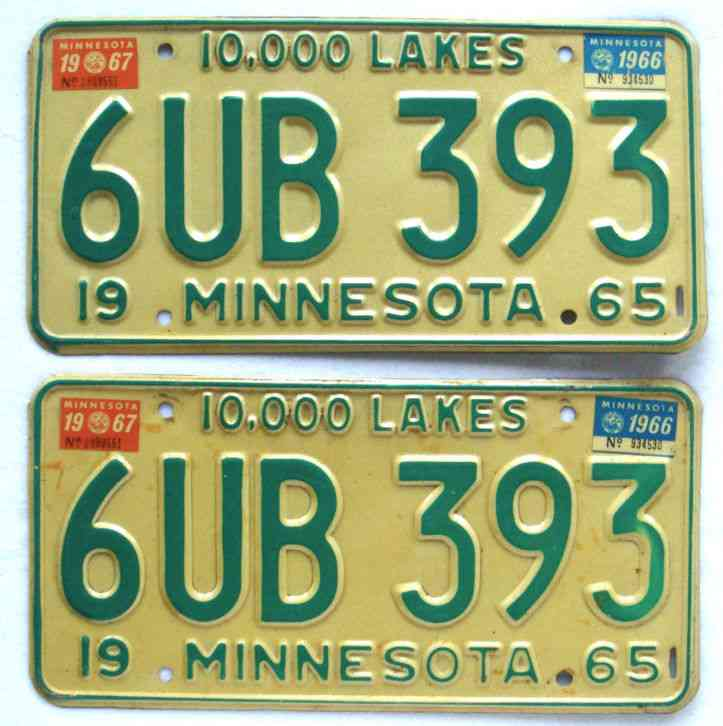 Minnesota 1966 1967 Pair License Plate Garage Old Car Auto