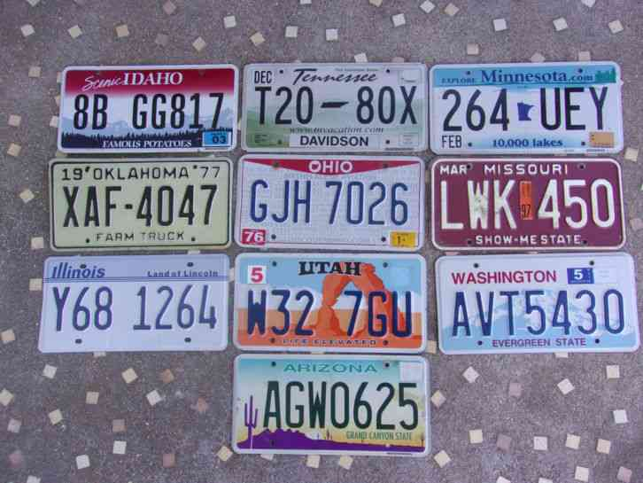 Lot 10 Old Used License Plate Sign Exp