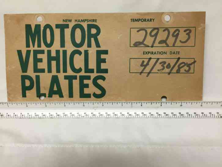 NH temp temporary paper license plate from 1985 New Hampshire
