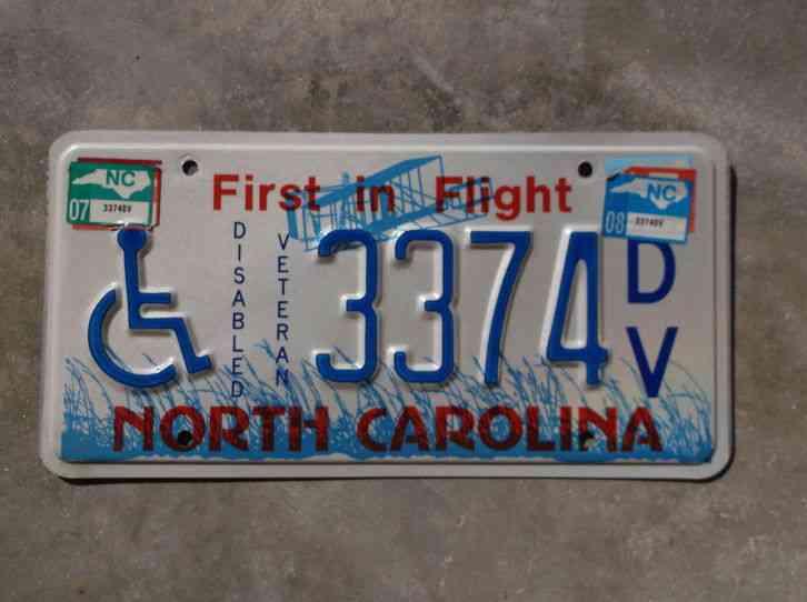 North Carolina Disabled Veteran license plate # 3374