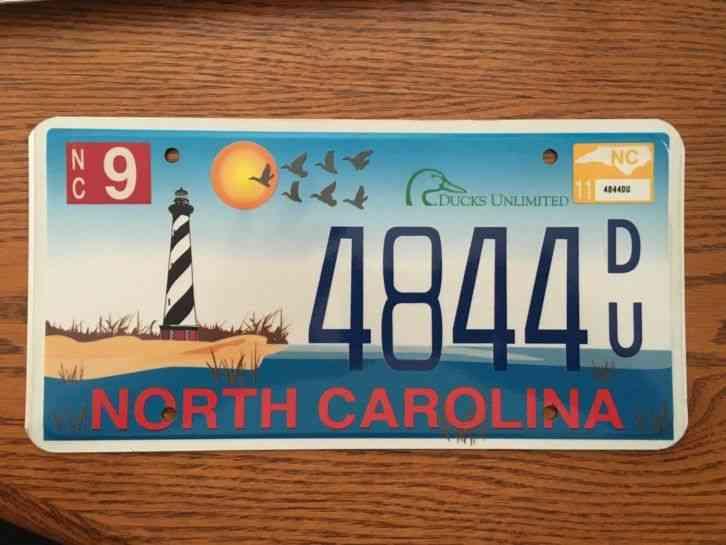 North Carolina Ducks Unlimited License Plate Mint