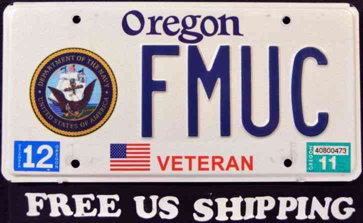 OREGON NAVY VETERAN OR Military Graphic License Plate FREE US SHIP
