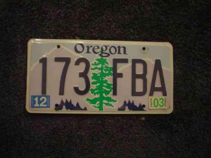 1998 oregon or license plate no reserve 33 linc. Black Bedroom Furniture Sets. Home Design Ideas