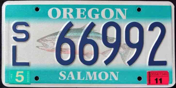 Oregon trail license plate 007 acr march 2008 tag for Oregon fishing license price