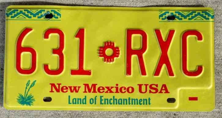 2008 New Mexico License Plate Expired 096 Jhm