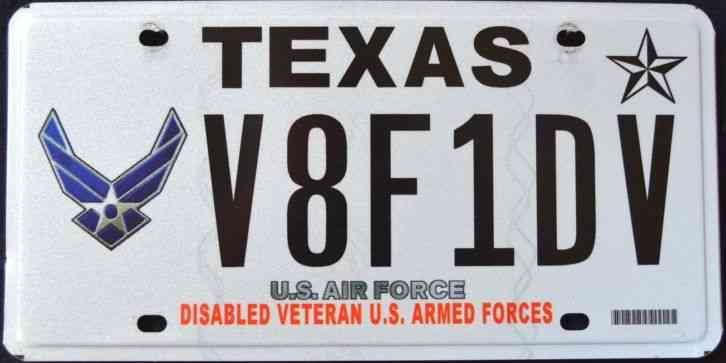 Specialty License Plate U.S. Air Force