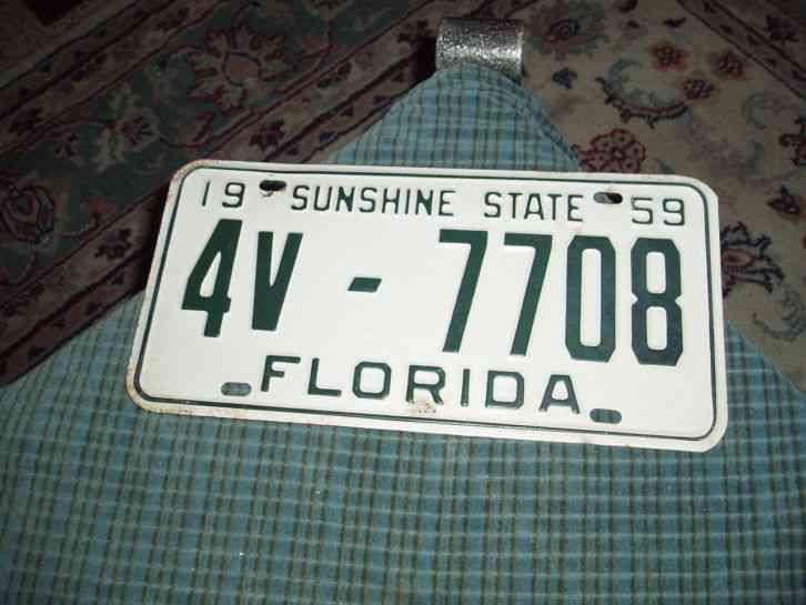 Vintage 1959 Florida Sunshine State License Plate Tag Wall