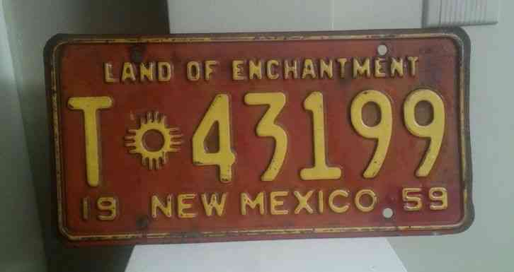 Cars For Sale In Maine >> VINTAGE 1959 NEW MEXICO LICENSE PLATE
