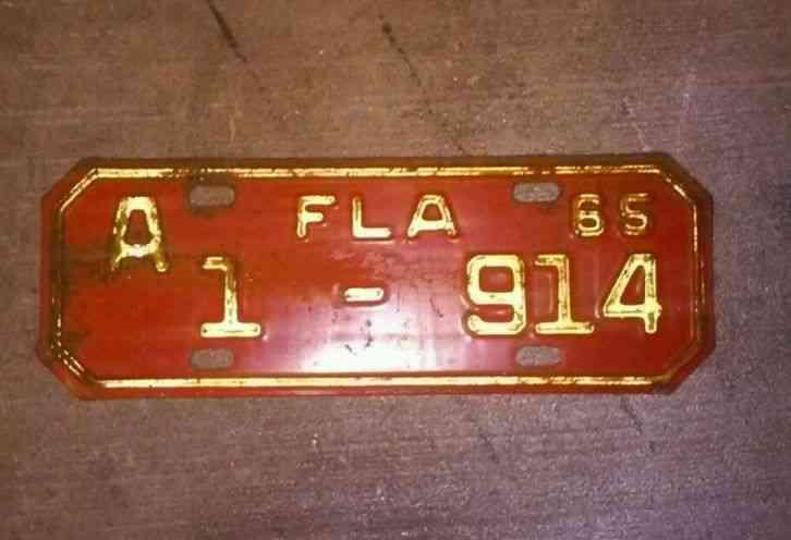 Vintage 1965 Florida State Motorcycle License Plate