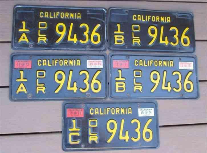 Vintage California Black & Gold DEALER License Plates Set