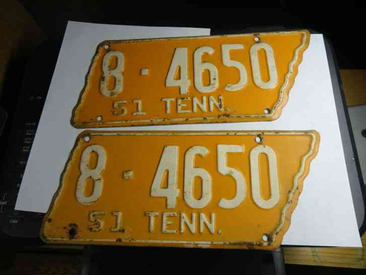 Auctions In Michigan >> VINTAGE PAIR 1951 TENNESSEE LICENSE PLATES NICE 8-4650 N/R