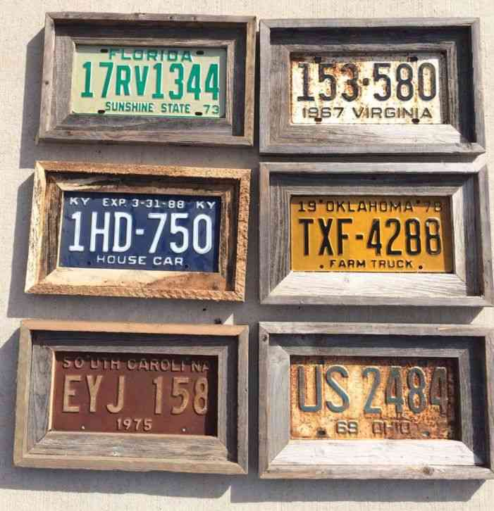 Vintage Wood License Plate Sized Barn Wood Frame Primitive