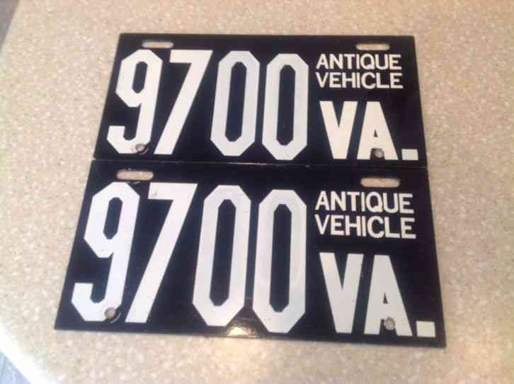 & Virginia Antique Vehicle License Plates - two matched