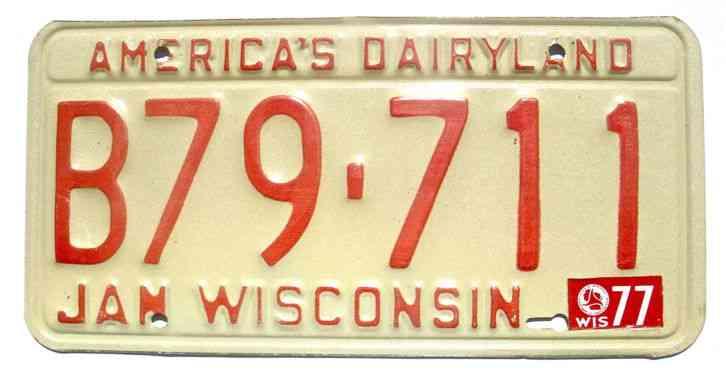 Wisconsin 1977 on 1973 Base License Plate Garage Vintage