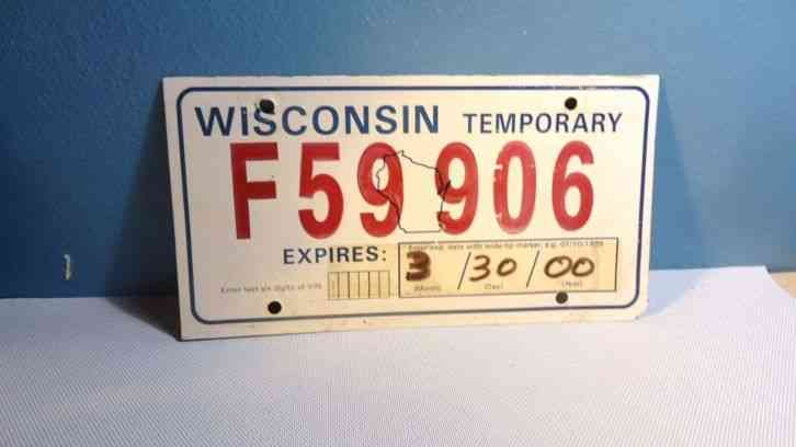 wisconsin temporary license plate auto tag not metal. Black Bedroom Furniture Sets. Home Design Ideas